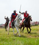 Attack of horse knights Royalty Free Stock Photography