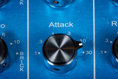 Attack knob on audio mixer Royalty Free Stock Photo
