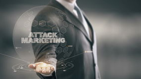 Attack Marketing with hologram businessman concept stock video footage