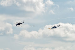 Attack of MI-24 helicopters by machine guns Stock Image