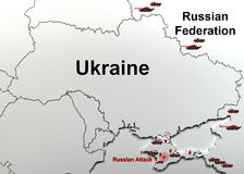 Attack on a military unit in Crimea. Map. Stock Photos
