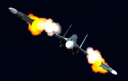 Attack of the plane. Scene of the russian combat plane Stock Photography
