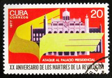 Attack of President palace, devoted to the 20 anniversary of the martyrs of revolution, circa 1977. MOSCOW, RUSSIA - JULY 15, 2017: A stamp printed in Cuba shows Stock Photography