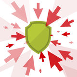 Attack and protection. Digital technology concept. Vector flat illustration of cursors and shield. Computer pointers attack, guard protects data. Design element Royalty Free Stock Photos