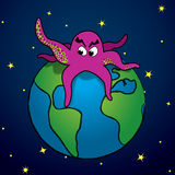 Attack of the Purple Monster. A giant purlple monster attacks Earth Stock Image