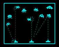 Attack of space invaders. On a black background Stock Image