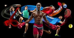 Attack. Sport collage about badminton, tennis, boxing and handball players royalty free stock images