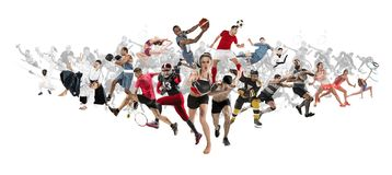 Sport collage about kickboxing, soccer, american football, basketball, ice hockey, badminton, taekwondo, tennis, rugby stock photography