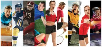 Sport collage about soccer, american football, badminton, tennis, boxing, ice and field hockey, table tennis. Attack. Sport collage about soccer, american royalty free stock photos