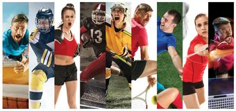 Sport collage about soccer, american football, badminton, tennis, boxing, ice and field hockey, table tennis stock images