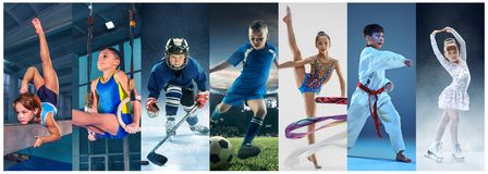 Ice hockey sport players in action, business comptetition concpet, teen girls on training. Attack. Sport collage about teen or child athletes or players. The stock photos