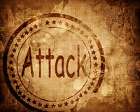 Attack stamp on grunge background Royalty Free Stock Photos