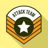 Attack team logo, flat style stock illustration