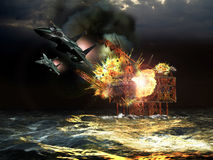 Attack to the oil rig. Offshore oil production drilling rig being destructed by missiles launched by two fighters Stock Images