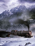 Attack to the train. Scene in the old west. Exterior day, landscape under the snow. Bandit trying to stop a train in view to commit a robbery Stock Photography