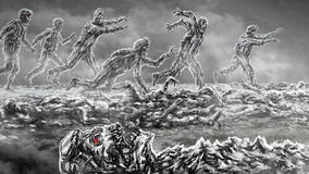 Attack zombie army on battlefield. Illustration in genre of horror. Black and white colors royalty free illustration