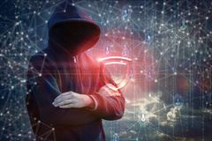 Before the attacker, electronic protection is displayed. Concert data protection royalty free stock image