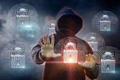 Attacker got into the system of protection. Concept security systems royalty free stock images
