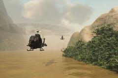 Attackhelikoptrar på maskerad beskickning Arkivbilder