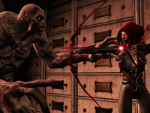 Attackig elf on zombie. 3D rendered illustration of attacking dark elf on zombie Stock Images