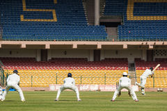 Attacking batting shot. Attacking shot by Manish Pandey in the Irani Cup. Slips watch on Royalty Free Stock Photos