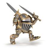 Attacking cartoon  knight Stock Photos