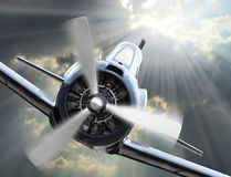 Attacking fighter. Retro style picture with war theme Royalty Free Stock Photo