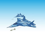 Attacking fighter in the sky Stock Photography