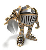 Attacking Funny cartoon knight Royalty Free Stock Image