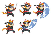 Attacking Ninja Cat Animation Sprite. Cartoon Illustration of Ninja Cat Animation Sprite for game Stock Photos