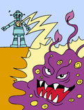 Attacking Robot. Robot battles a slime monster Stock Photography