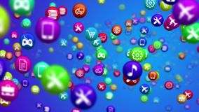 Attacking Social Media News Balls. An impressive 3d illustration of colorful social media news balls soaring in the blue background. They are covered with Stock Photo