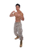 Attacking stance Muscular Marine in Uniform Royalty Free Stock Photography