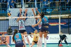 Attacks N. Obmochaeva (Dynamo (MSC) 8. MOSCOW, RUSSIA - DECEMBER 2: N. Obmochaeva (Dynamo (MSC) 8 while playing on women's Rissian volleyball Championship game stock photo