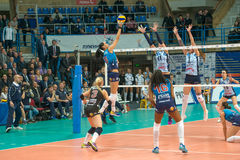 Attacks N. Obmochaeva (Dynamo (MSC) 8. MOSCOW, RUSSIA - DECEMBER 2: N. Obmochaeva (Dynamo (MSC) 8 while playing on women's Rissian volleyball Championship game royalty free stock image