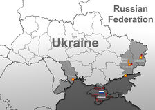 Attacks on Ukraine. Map. Royalty Free Stock Images