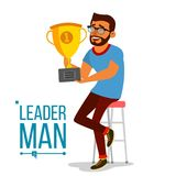 Attainment Concept Vector. Businessman Leader Holding Winner Golden Cup. Objective Attainment, Achievement. Best Worker. Attainment Achievement Concept Vector Royalty Free Stock Image