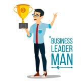 Attainment Achievement Concept Vector. Businessman Leader Holding Winner Cup. Entrepreneurship, Accomplishment. Best. Attainment Concept Vector. Businessman Royalty Free Stock Photos