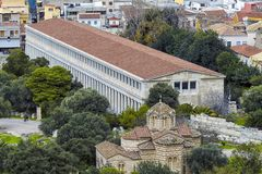 Attalos也被拼写的Attalus Stoa是门廓在集市雅典,希腊 免版税图库摄影