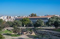 Attalos,古老集市Stoa在雅典,希腊 库存图片