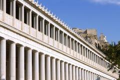 Attalos Stoa,在古希腊集市在雅典,希腊 免版税库存图片