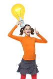 Attantion - I have an idea!. Emotional Girl Holding cartoon bulb - idea! - Bright Portrait isolated on white background royalty free stock images