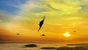 Attaque aérienne de Nighthawk de la discrétion F-117 illustration stock