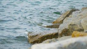 Attaque bleue de vague de mer la pierre dans le clip vidéo de longueur de mouvement lent banque de vidéos