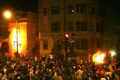 Attaque d'ambassade des USA, Belgrade Serbie Images libres de droits