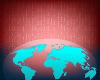 Attaque de Cyber de carte du monde par le fond de concept de pirate informatique avec la binaire illustration stock