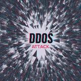 Attaque de DDoS de pirate informatique sur le fond d'abstrackt Photographie stock libre de droits