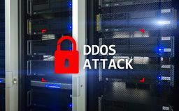 Attaque de DDOS, protection de cyber le virus détectent E illustration stock