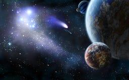 Attaque de l'espace des comètes illustration libre de droits