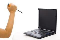 Attaque de l'ordinateur portatif 1 Photographie stock libre de droits